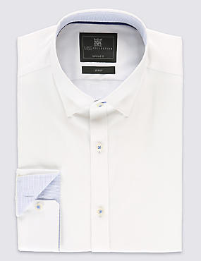 2in Longer Cotton Rich Tailored Fit Classic Collar Shirt