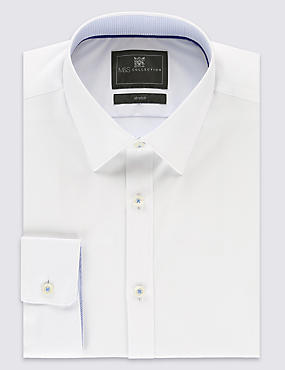 Cotton Rich Tailored Fit Stretch Shirt