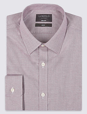 Tailored Fit Long Sleeve Textured Shirt