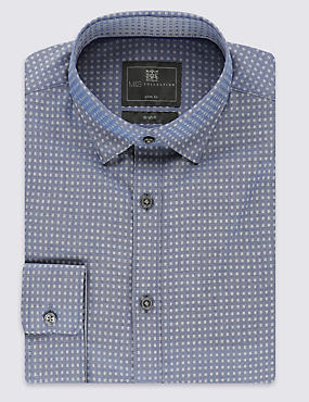 Cotton Rich Slim Fit Chambray Square Shirt