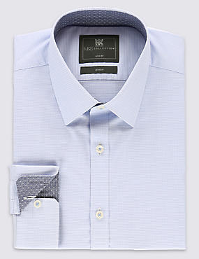 Cotton Rich Slim Fit Geometric Print Textured Shirt