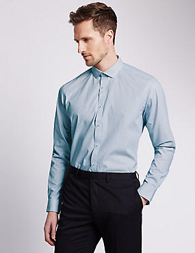 Cotton Rich Tailored Fit Broken Striped Shirt