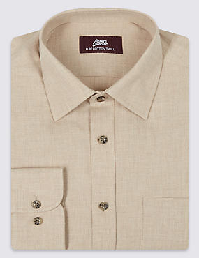Pure Cotton Long Sleeve Shirt with Pocket