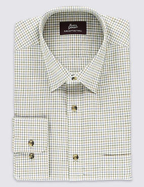 Pure Cotton Twill Checked Shirt with Pocket