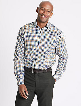 Pure Cotton Regular Fit Shirt with Pocket, BLUE MIX, catlanding
