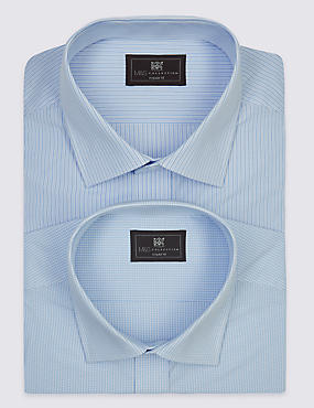 2 Pack Cotton Blend Easy to Iron Shirts