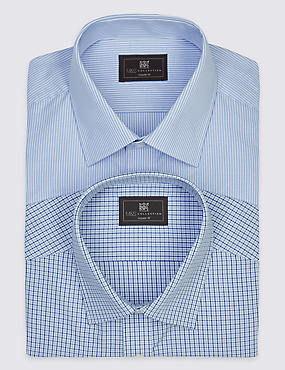 2 Pack Easy to Iron Short Sleeve Shirts