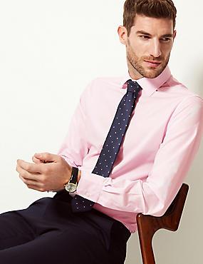 Cotton Blend Slim Fit Shirt, PINK, catlanding