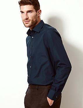Cotton Blend Slim Fit Shirt, NAVY, catlanding