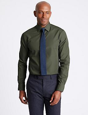 Cotton Blend Slim Fit Shirt, KHAKI, catlanding