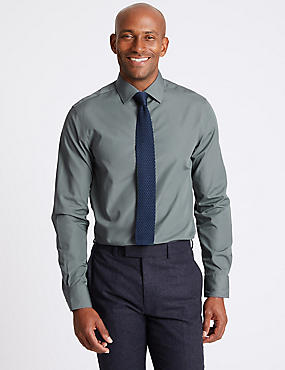 Cotton Blend Slim Fit Shirt, GREY, catlanding
