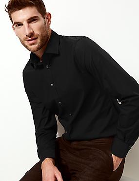Cotton Blend Slim Fit Shirt, BLACK, catlanding