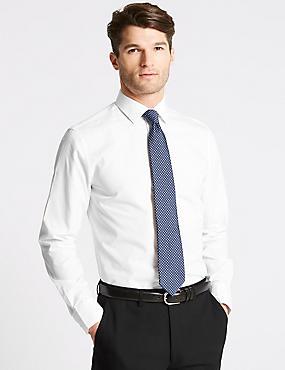 Cotton Blend Slim Fit Shirt, WHITE, catlanding