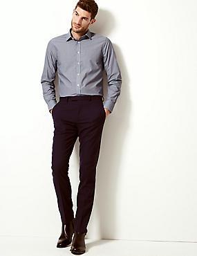 Cotton Blend Slim Fit Shirt, NAVY MIX, catlanding