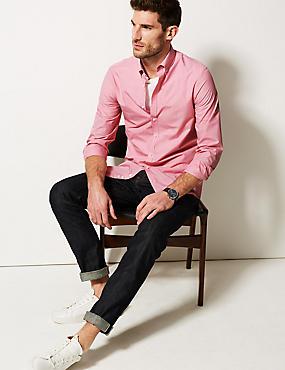 Cotton Blend Slim Fit Shirt , RED, catlanding