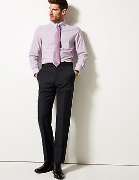 Cotton Blend Slim Fit Shirt , LILAC, catlanding
