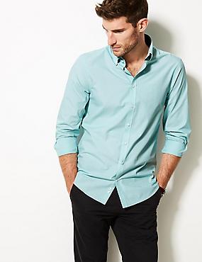 Cotton Blend Slim Fit Shirt , AQUA, catlanding