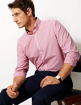 Cotton Blend Tailored Fit Shirt , RED, catlanding
