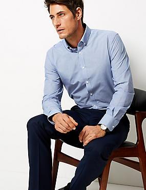 Cotton Blend Tailored Fit Shirt , COBALT, catlanding