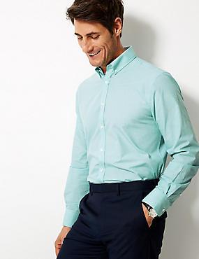 Cotton Blend Tailored Fit Shirt , AQUA, catlanding