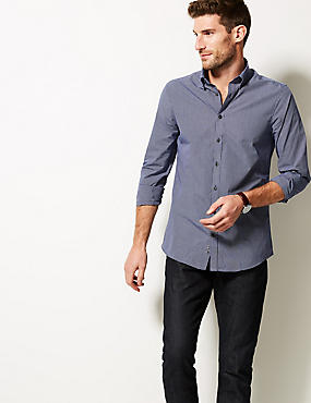 Cotton Blend Slim Fit Shirt , NAVY MIX, catlanding