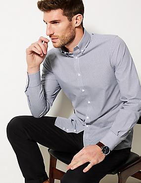 Cotton Blend Slim Fit Shirt , WHITE MIX, catlanding