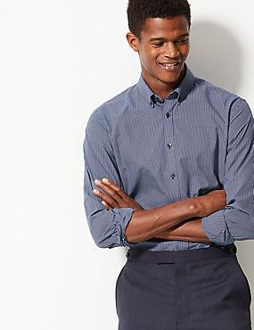Cotton Blend Tailored Fit Shirt , NAVY MIX, catlanding