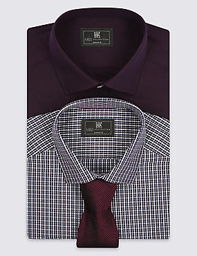 2 Pack Easy to Iron Tailored Fit Checked Shirts with Tie