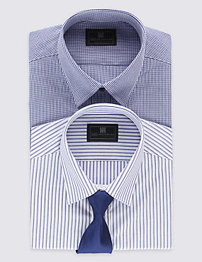 2 Pack Easy to Iron Tailored Fit Shirts