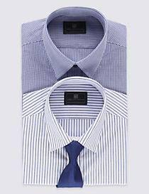 2 Pack Easy to Iron Tailored Shirts with Tie