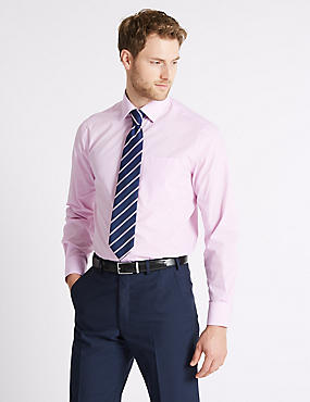 2 Pack Easy to Iron Shirts with Tie, PINK MIX, catlanding
