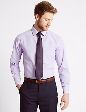 2 Pack Easy to Iron Regular Fit Shirts with Tie , LILAC MIX, catlanding