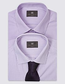 2 Pack Easy to Iron Regular Fit Shirts with Tie