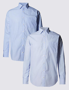 2 Pack Easy to Iron Long Sleeve Striped Shirts