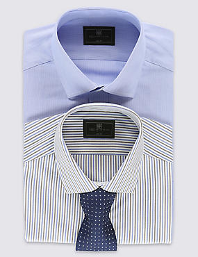 2 Pack Easy to Iron Slim Fit Striped Shirts with Tie