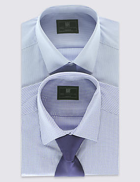 2 Pack Easy to Iron Assorted Shirts with Tie