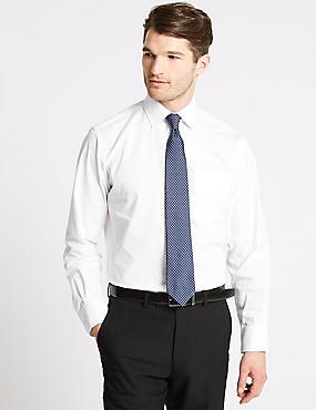 2in Longer Easy to Iron Regular Fit Shirts, WHITE, catlanding