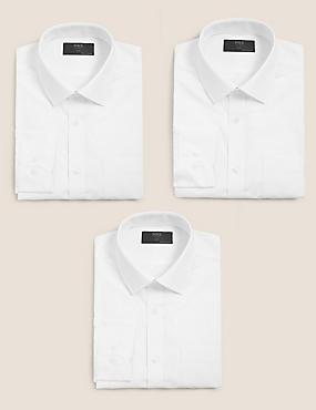 3 Pack Cotton Blend Slim Fit Shirts, WHITE, catlanding