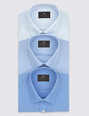 3 Pack Easy to Iron Slim Fit Shirts