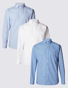 3 Pack Easy to Iron Long Sleeve Assorted Shirts