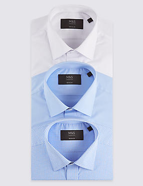 3 Pack Cotton Blend Easy to Iron Shirts