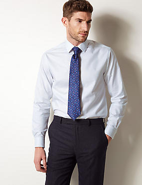 Pure Cotton Tailored Fit Shirt, COBALT, catlanding