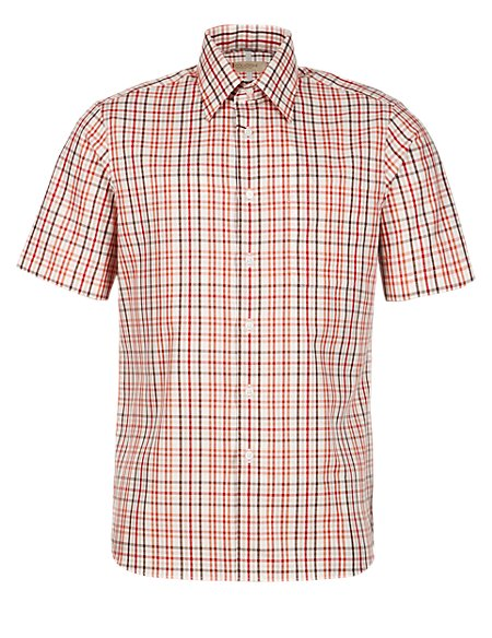 Pure Cotton Marco Checked Short Sleeve Shirt