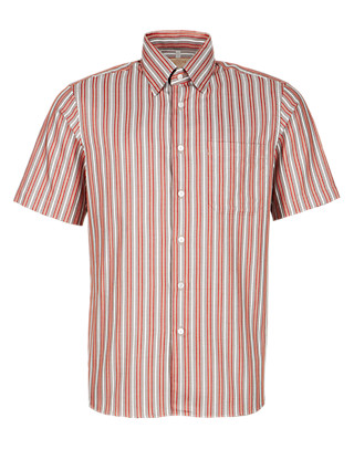 Pure Cotton Striped Short Sleeve Shirt Clothing