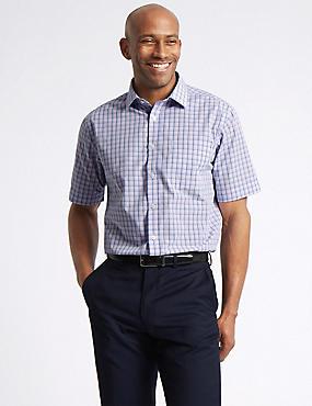 Cotton Rich Short Sleeve Regular Fit Shirt, PINK MIX, catlanding