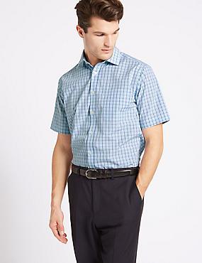 Cotton Rich Short Sleeve Regular Fit Shirt, AQUA MIX, catlanding