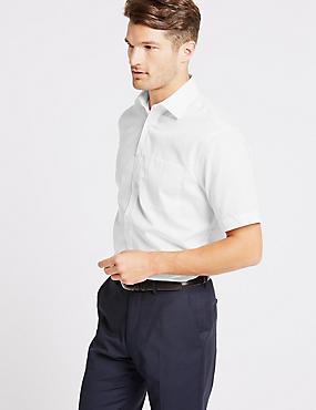 Cotton Rich Short Sleeve Regular Fit Shirt, WHITE, catlanding