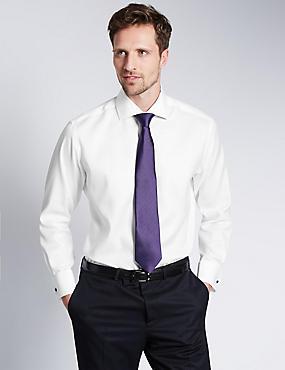2in Longer Pure Cotton Regular Fit Shirt, WHITE, catlanding
