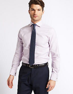 Pure Cotton Easy to Iron Slim Fit Shirt, PINK MIX, catlanding