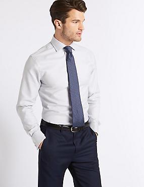 Pure Cotton Easy to Iron Slim Fit Shirt, MOCHA MIX, catlanding